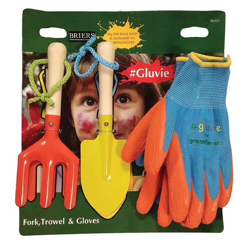 Greenfingers #Gluvie Kids Hand Fork, Trowel & Gloves Set - Briers
