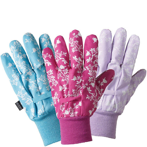 Birds & Branches Cotton Grip Triple Pack Gloves - Briers