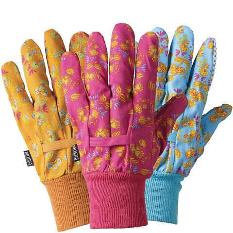 Oriental Floral Cotton Triple Pack Gloves - Briers