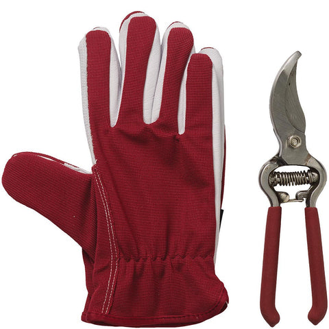 Lined Dual Gloves & Secateurs Claret - Briers