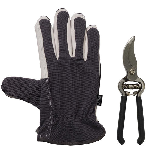 Lined Dual Gloves & Secateurs Black - Briers