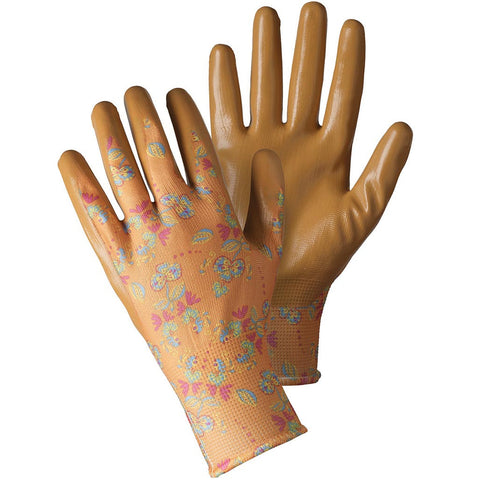 Oriental Floral Orange Seed & Weed Gloves - Briers