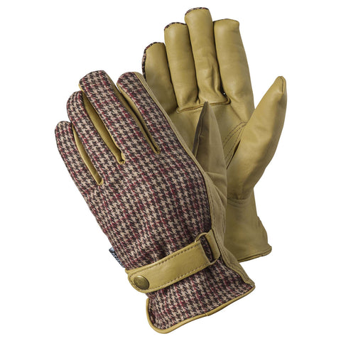 Leather Checked Gloves