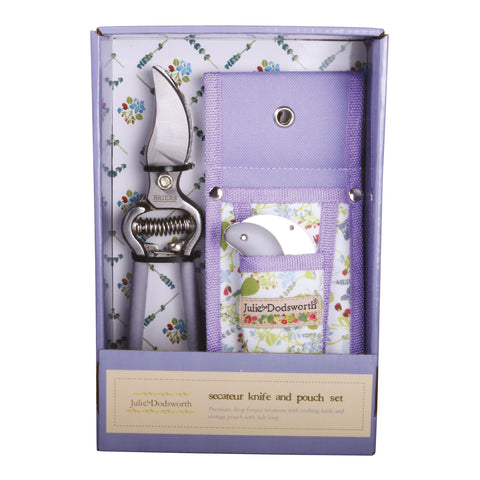 Julie Dodsworth Lavender Garden Secateurs, Knife and Pouch