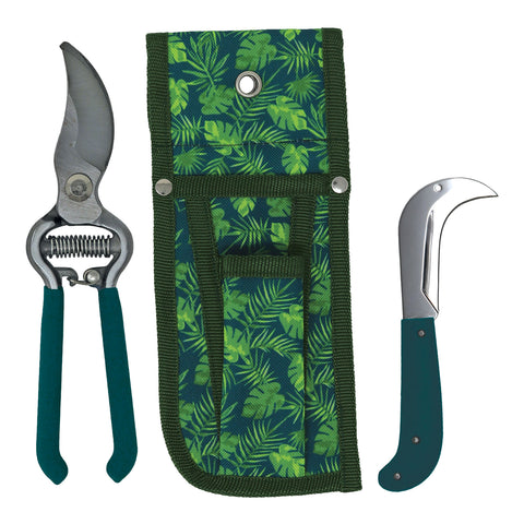 April Raven Tropical Forest Secateurs, Knife and Pouch Set