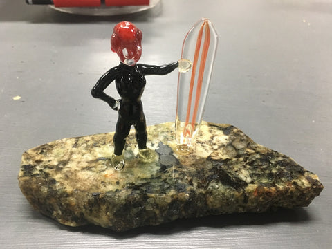 Surfer Girl Glass Sculpture on Stone