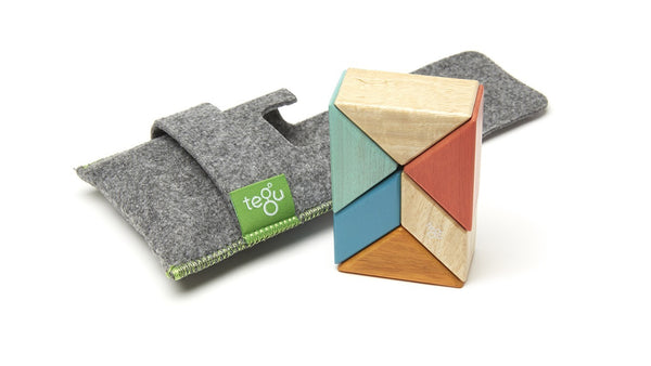 Magnetic Wooden Block Set - SUNSET Prism Pouch Kit - Designed in USA - Fair Trade from Honduras