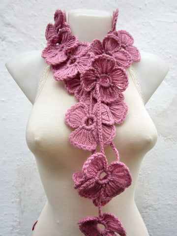 Hand-Crocheted Flower Lariat Scarf -Soft Pinks