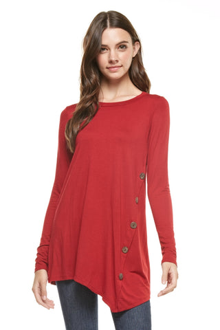 Long-Sleeve Tunic with Button Accent