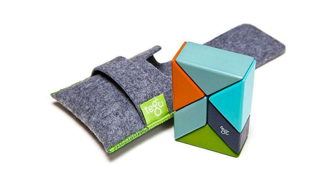 Magnetic Wooden Block Set - NELSON Prism Pouch Kit - Designed in USA - Fair Trade from Honduras