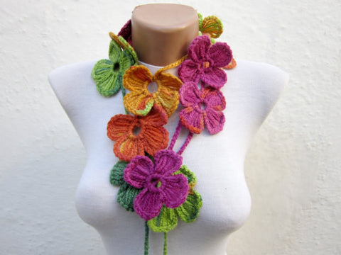 Hand-Crocheted Flower Lariat Scarf