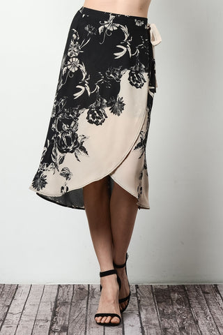 Midi Black Flowy Floral Wrap Skirt