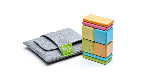 Magnetic Wooden Block Travel Set - TINTS Pocket Pouch Original 8 Pieces - Designed in USA - Fair Trade from Honduras