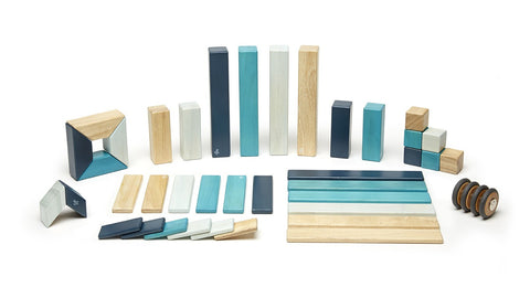 Magnetic Wooden Block Set - BLUES 14 Piece Kit - Designed in USA - Fair Trade from Honduras
