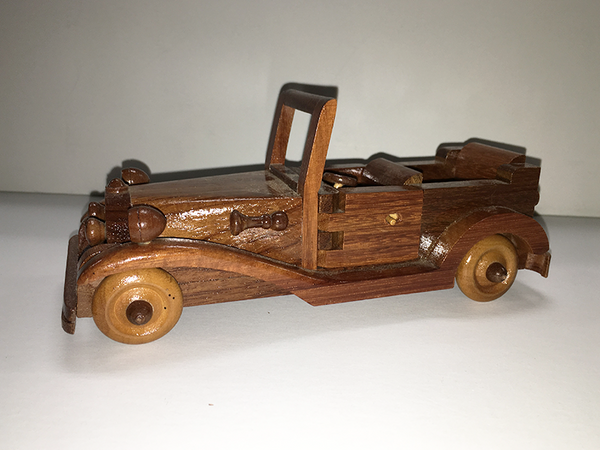 1933 Ford Convertible Hand-Carved Wooden Model Toy