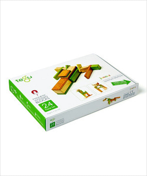 Magnetic Wooden Block Set - JUNGLE 24 Piece Kit - Designed in USA - Fair Trade from Honduras