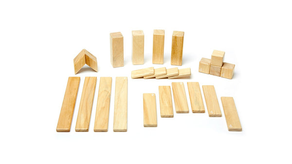 Magnetic Wooden Block Set - NATURAL 24 Piece Kit - Designed in USA - Fair Trade from Honduras
