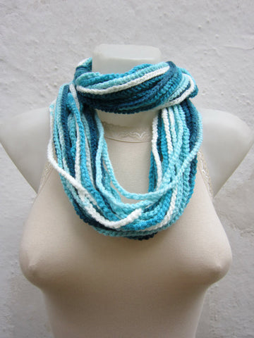 Simple Multi-strand Hand Crocheted Fashion Scarf - Light Blue