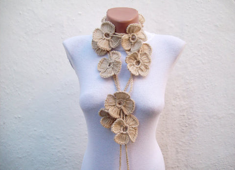 Hand-Crocheted Flower Lariat Scarf - Beige Colors