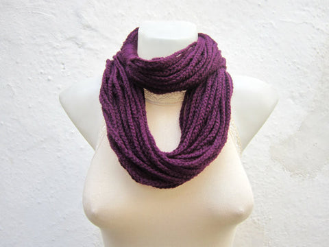 Simple Multi-strand Hand Crocheted Fashion Infinity Scarf - Purple