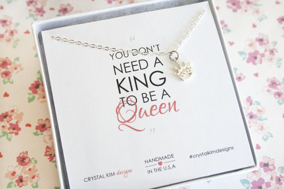 Queen Crown Necklace in Sterling Silver