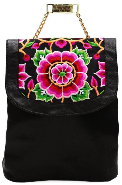 Nonny Black Embroidered Leather Backpack
