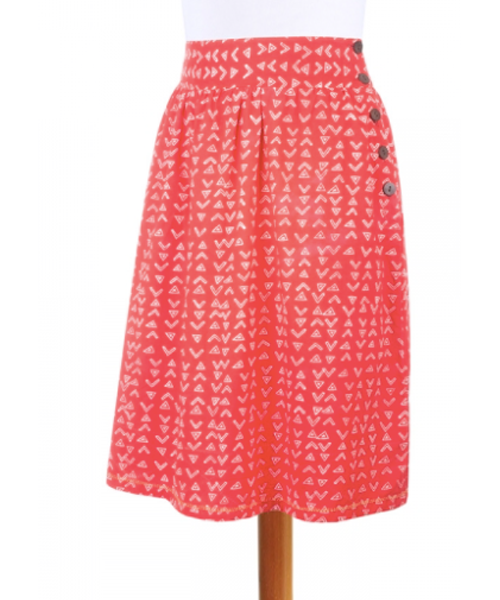 Red High-Waisted Skirt with Side Button Accent