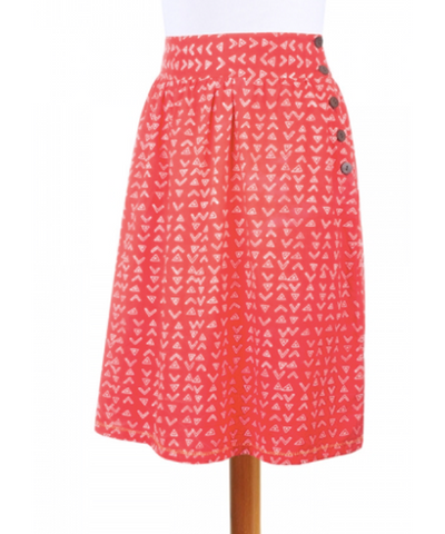 Red High-Waisted Skirt with Side Button Accent - CleverElement