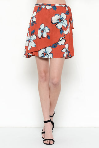 Island Wrap Mini-Skirt - Brick Red