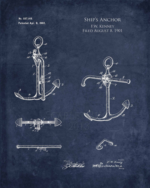 Patent Print Ship's Anchor