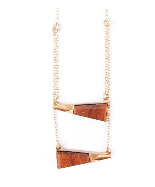 Hanging Madera Layered Necklace