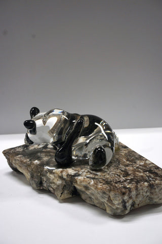 Panda Glass Sculpture on Stone