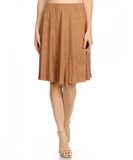 Soft Suade Skirt in Camel - Made in America - CleverElement