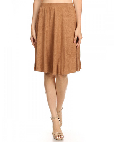 Soft Suade Skirt in Camel - Made in America
