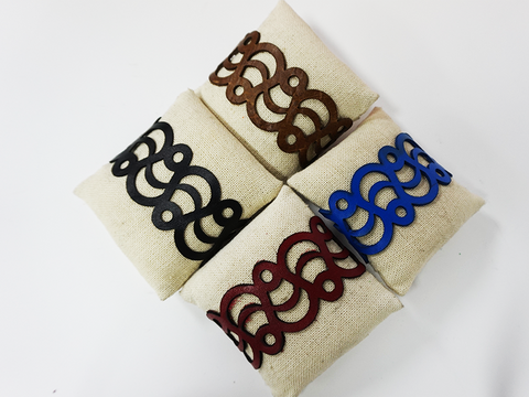 Custom Laser Cut Leather Colored Bracelets - Wave Pattern
