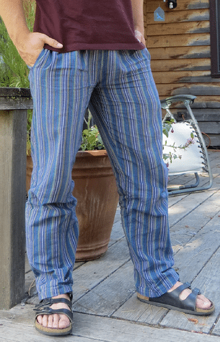 Light-weight Striped Cotton Pants