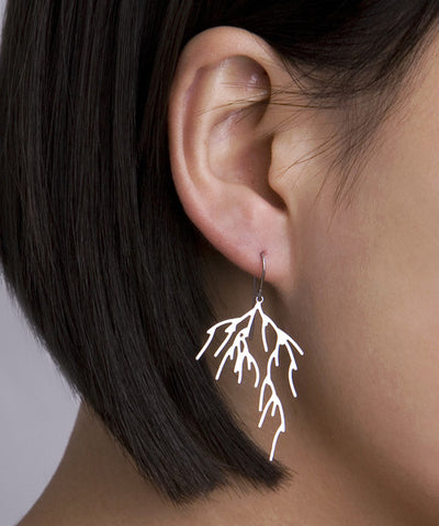 Stainless Steel Branch 3D-Printed Earrings - CleverElement  - 1