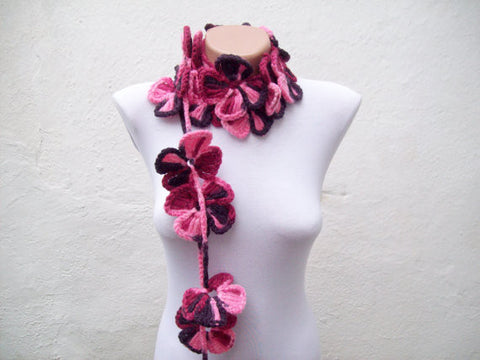 Hand-Crocheted Flower Lariat Scarf - Vibrant Pinks