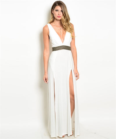 White Double Slit Dress - CleverElement