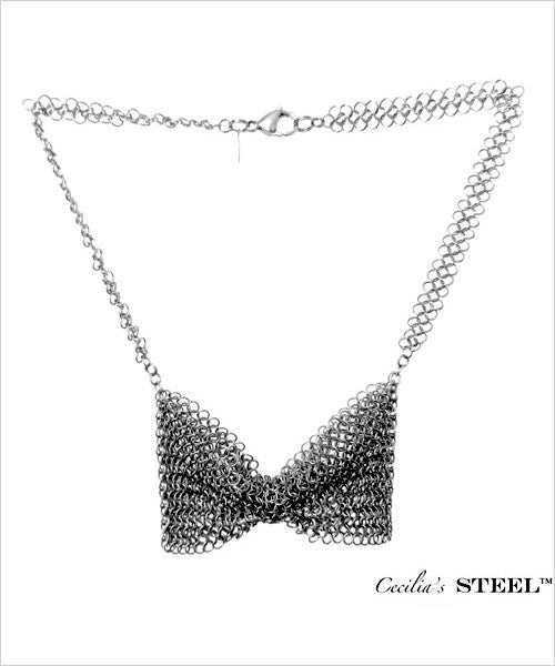 Stainless Steel Butterfly Bow Tie Necklace