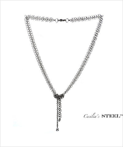 Stainless Steel Lariat Fixed Knot Necklace