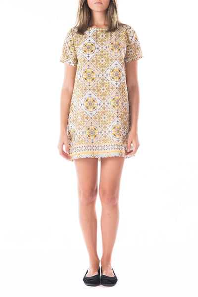 Yellow Floral & Tile Pattern Shift Dress