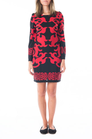 Long-sleeved Black and Red Shift Dress