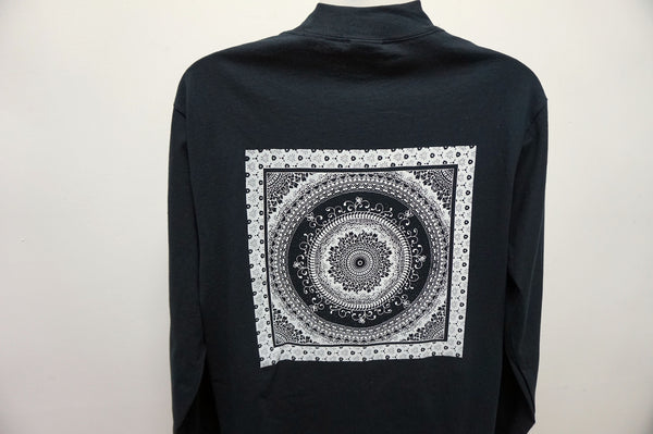 Handprinted Artisan Black and White Mandala Graphic T-Shirt