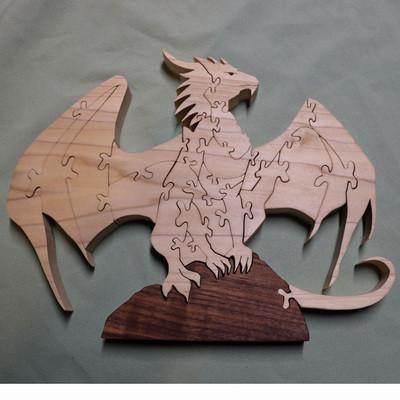 Dragon on Rock Handcarved Wooden Puzzle