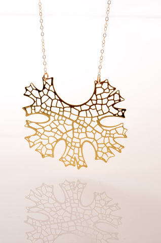Folium Gold 3D Printed Pendant - CleverElement  - 4