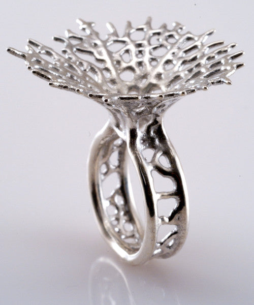 Hyphae 3D-Printed Silver Ring