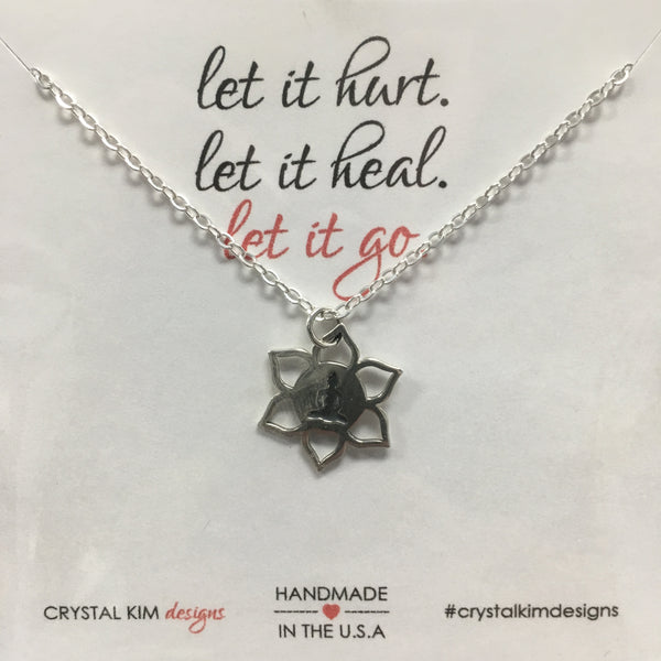 Silver-Plated Lotus Yoga Center Necklace