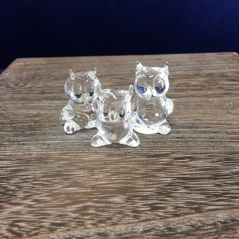 Mini Glass Owl Family Set of 3