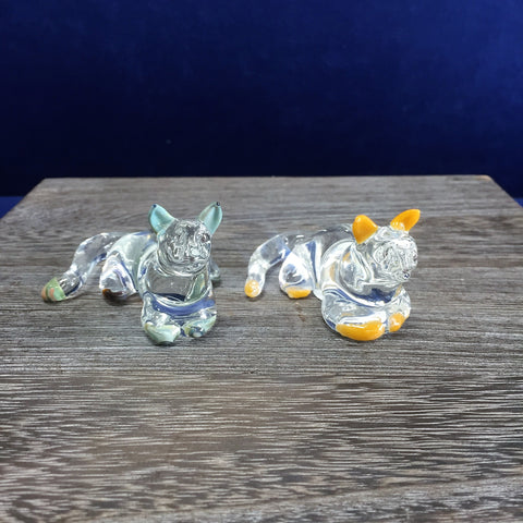 Laying Glass Cats